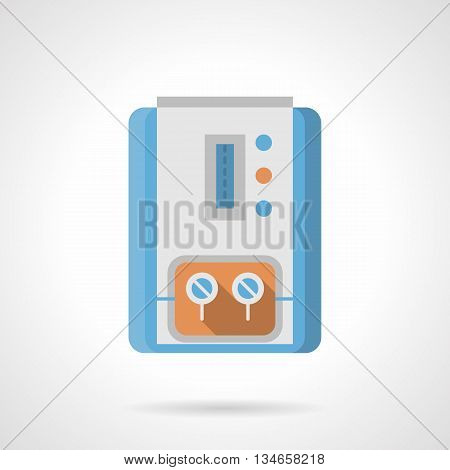 Gas column for water boiling with scale, indicators and two switches. Household equipment and appliances for heating system. Climatic technics. Flat color style vector icon.