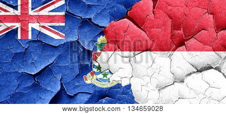 cayman islands flag with Indonesia flag on a grunge cracked wall
