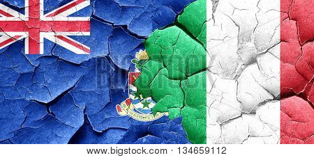 cayman islands flag with Italy flag on a grunge cracked wall