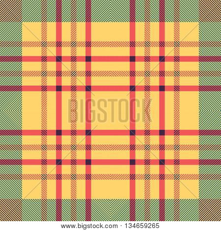 Seamless tartan pattern. Plaid red yellow blue palette repeated tartan pattern. Twill texture Vector illustration.