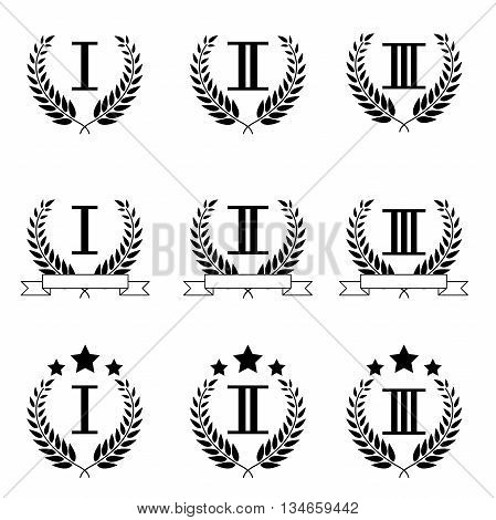 vector set of figures with wreaths and stars