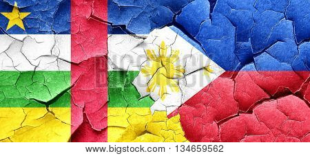 Central african republic flag with Philippines flag on a grunge