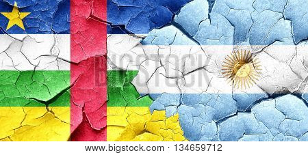 Central african republic flag with Argentine flag on a grunge cr