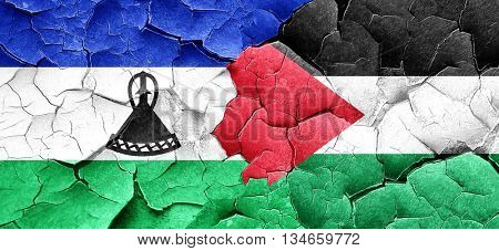 Lesotho flag with Palestine flag on a grunge cracked wall