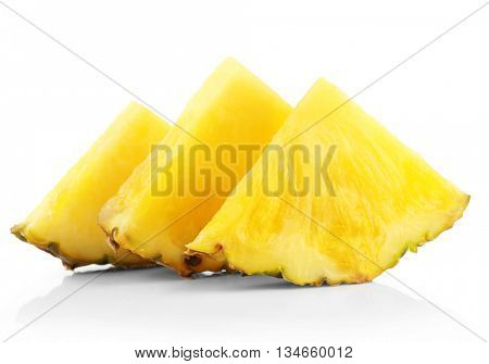 Sliced juicy pineapple isolated on white