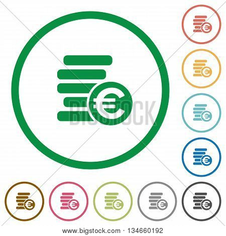 Set of euro coins color round outlined flat icons on white background