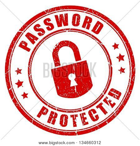 Password protected rubber stamp isolated on white background