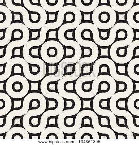 Vector Seamless Black And White Geometric Rounded Irregular Pattern