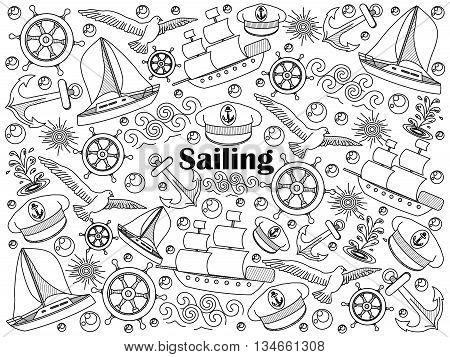 Sailing design colorless set vector illustration. Coloring book. Black and white line art