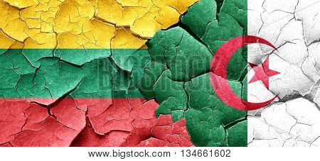 Lithuania flag with Algeria flag on a grunge cracked wall