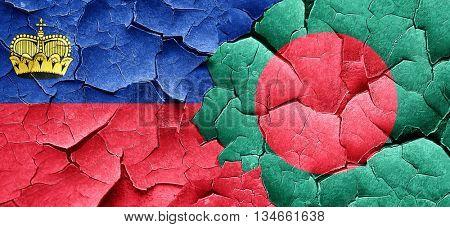 Liechtenstein flag with Bangladesh flag on a grunge cracked wall