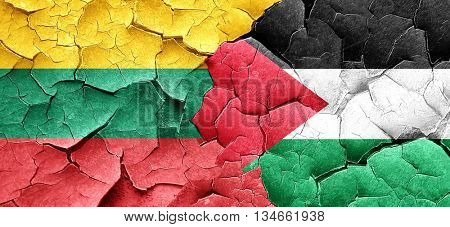 Lithuania flag with Palestine flag on a grunge cracked wall