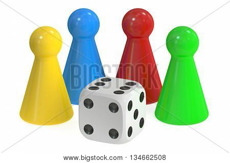 Board Game Pieces and Dice 3D rendering isolated on white background