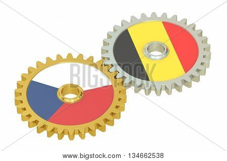 Czech Republic and Belgium flags on a gears 3D rendering isolated on white background