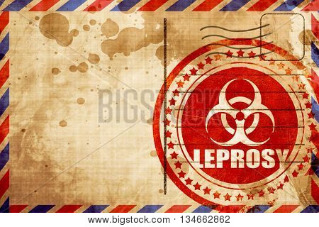 Leprosy concept background, red grunge stamp on an airmail backg