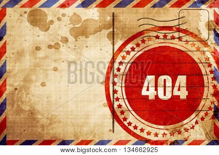 404 page, red grunge stamp on an airmail background
