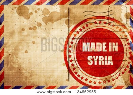 Made in syria, red grunge stamp on an airmail background