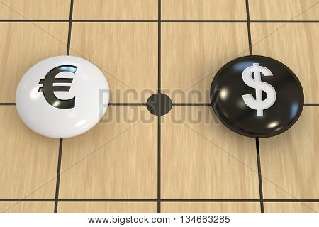 euro vs dollar concept, on the board game go. 3D rendering