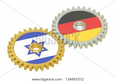 Israel and Germany flags on a gears 3D rendering isolated on white background