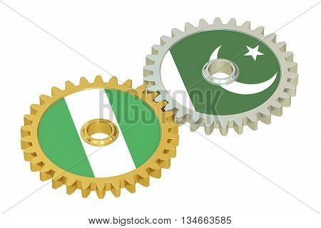 Nigeria and Pakistan flags on a gears 3D rendering isolated on white background