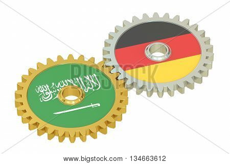 Saudi Arabia and Germany flags on a gears 3D rendering isolated on white background
