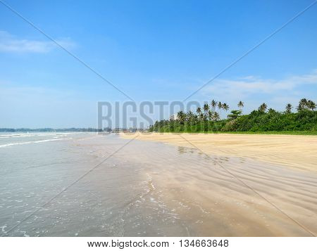 Empty tropical beach with sand and palms, Weligama, Sri Lanka
