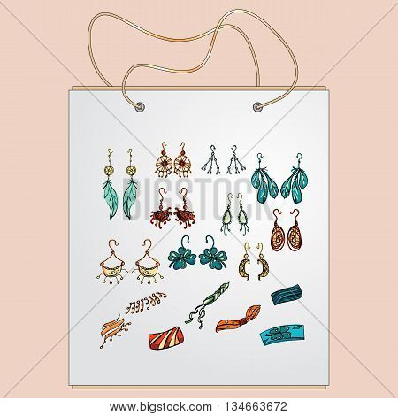Shopping bag, gift bag with the image of fashionable things.Fashion set. Fashion jewelry, earrings, bracelets. Illustration in hand drawing style.