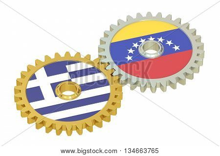 Venezuela and Greece flags on a gears 3D rendering isolated on white background