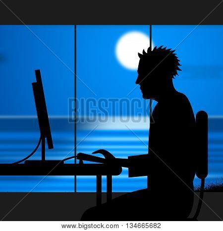 Working Late Indicates Nighttime Worker And Night