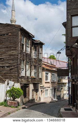 Old wooden houses in the historical center of Istanbul Turkey