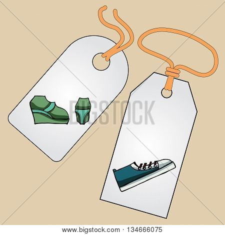 Label, badge, price tag with the image of fashionable things.Fashion set. Different shoes. illustration in hand drawing style.