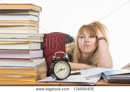 Student Sad Looking At A Stack Of Books