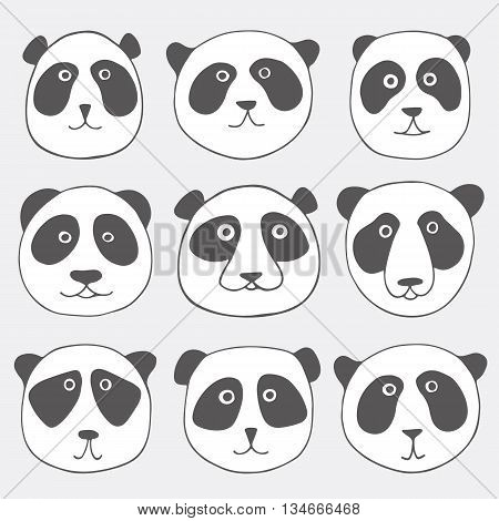 Hand drawn panda bear set. Cute collection