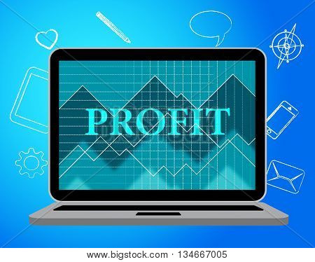 Profit Laptop Represents Web Site And Computer