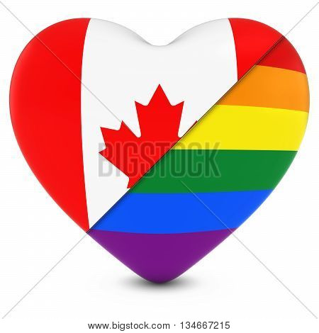 Canadian Flag Heart Mixed With Gay Pride Rainbow Flag Heart - 3D Illustration