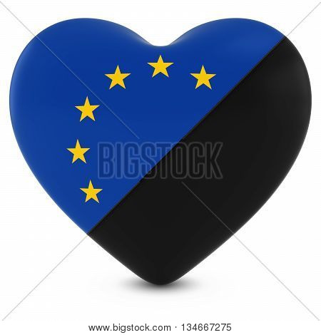 Black Mourning Heart Mixed With European Union Flag Heart - 3D Illustration