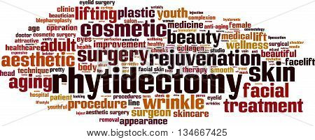 Rhytidectomy word cloud concept. Vector illustration on white