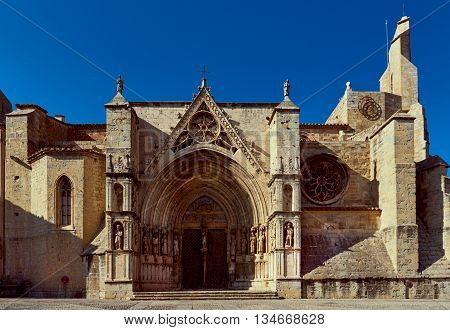 Gate of Saint Mary's Church in the Morella village most beautiful Gothic church of the Valencian region Spain