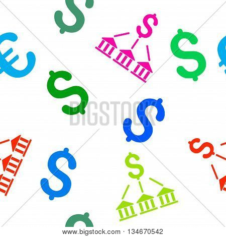 Bank Association vector seamless repeatable pattern. Style is flat bank association and dollar symbols on a white background.