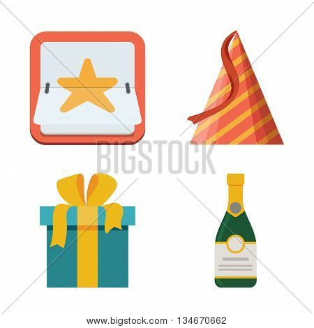 Celebration icon set. Bright flat illustration isolated white background