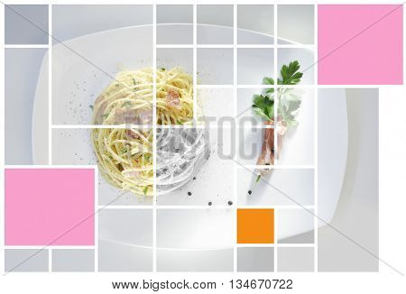 GEOMETRIC EFFECT ON CLASSIC SPAGHETTI CARBONARA IMAGE , BACKGROUND