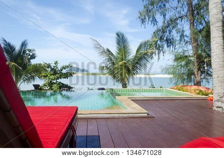 KOH PHA NGAN - OCTOBER 31: The luxurious pool in Baan Manali Resort on 31 October 2014 in Koh Pha Ngan, Thailand. Palm tree and beach in the background.