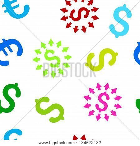 Dollar Distribution vector seamless repeatable pattern. Style is flat dollar distribution and dollar symbols on a white background.