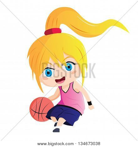 Illustration 2D Enfant Fille Sport Basket Ball