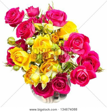 Pink And Yellow Rose Spray Flowers In Jug