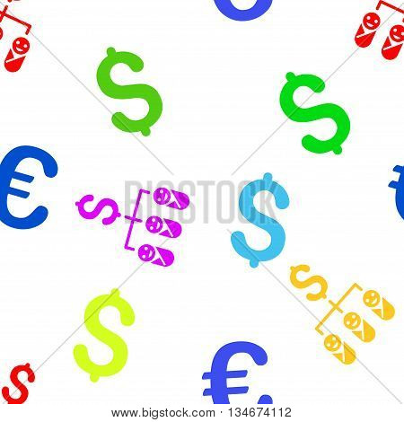 Kid Budget vector seamless repeatable pattern. Style is flat kid budget and dollar symbols on a white background.
