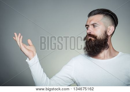 Bearded Man With Raised Hand