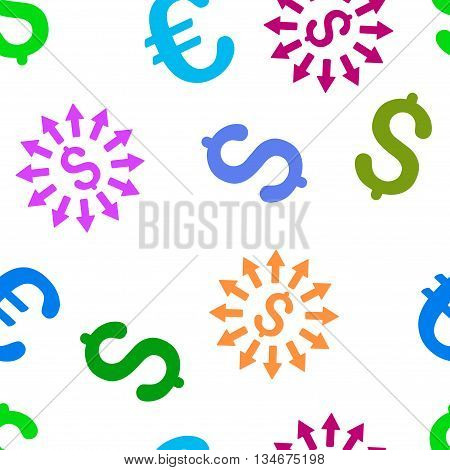 Money Distribution vector seamless repeatable pattern. Style is flat money distribution and dollar symbols on a white background.