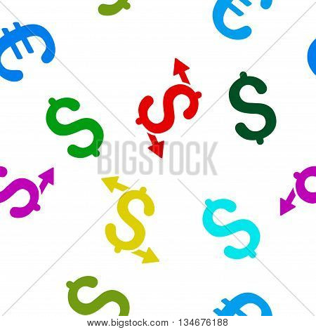 Payouts vector seamless repeatable pattern. Style is flat payouts and dollar symbols on a white background.