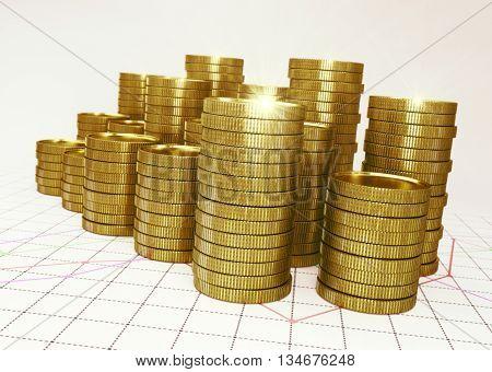 golden piles of coin on financial graph - 3D render